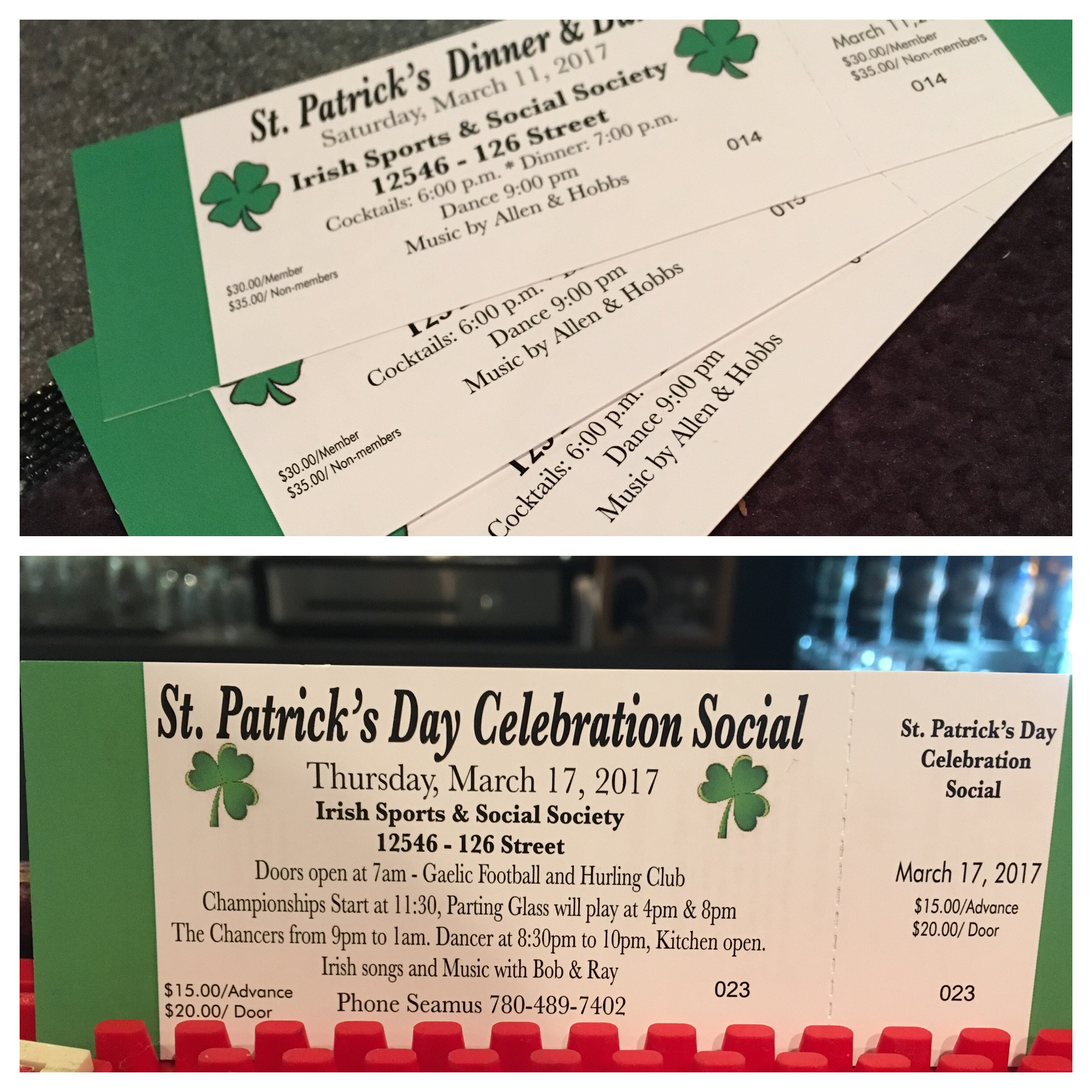 Tickets for this year's St. Patrick's Day events are now available!!